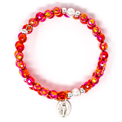 Red Memory Wire Rosary Bracelet.