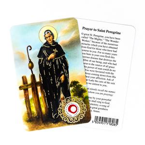 Prayer Card with Relic - Saint Peregrine.