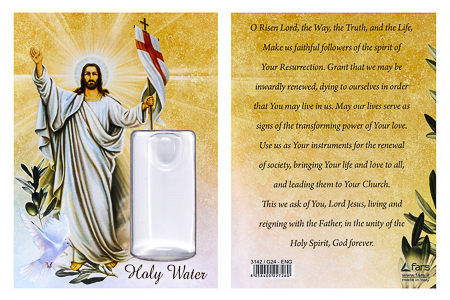Risen Christ Card and Holy Water Vial.