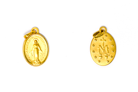 Solid Gold Miraculous Medal Pendant.