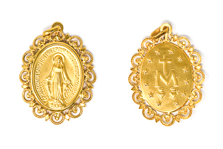 Solid Gold Our Lady of Grace Pendant.