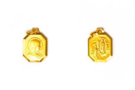 Solid Gold Hexagonal Virgin Mary Pendant.