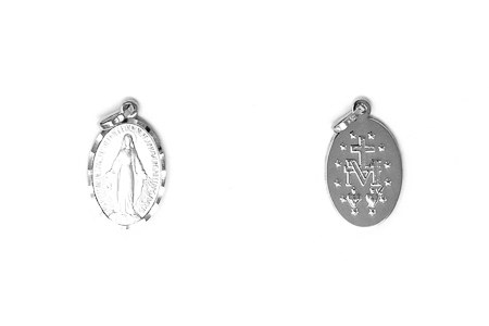 White Gold Our Lady of Grace Pendant.