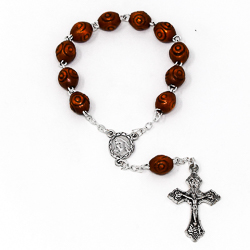 Hand Carved Wooden Handheld Rosary.