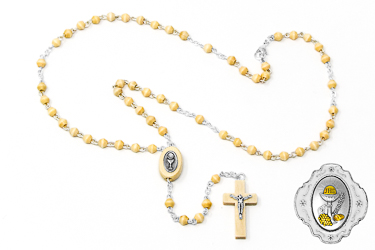 Metal Chalice Rosary Box with Olive Rosary.