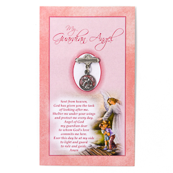 Pink Guardian Angel Baby Brooch.