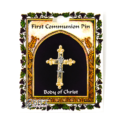First Communion Cross and Chalice Brooch.