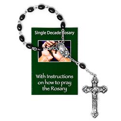 Imitation Hematite Glass Handheld Rosary