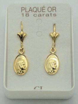 Gold Plated Virgin Mary Earrings.