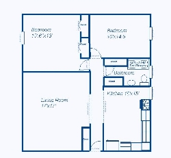 Garden Level Two Bedrooms (1000 Square Feet)