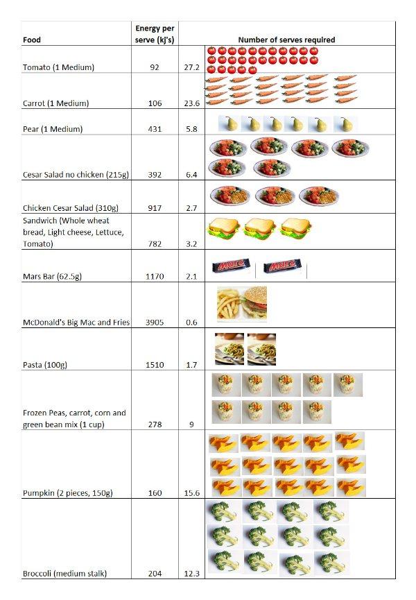 Food Energy Density Table