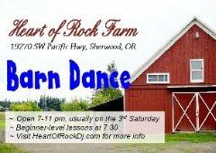 McMinnville, OR ~ Barn Dance!! @ Heart of Rock Farm