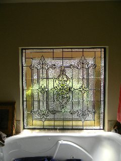 Custom stained glass bath window in Montgomery county in Carlton Woods