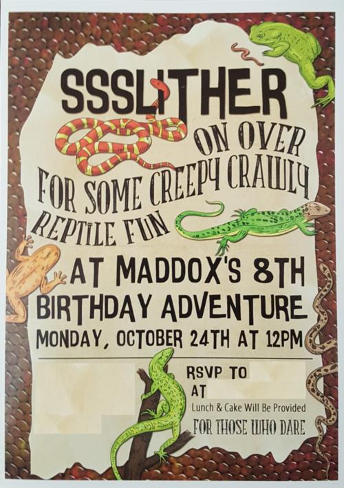 Reptile Party Invitation