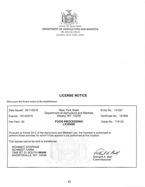 NY 20-C License for Hops